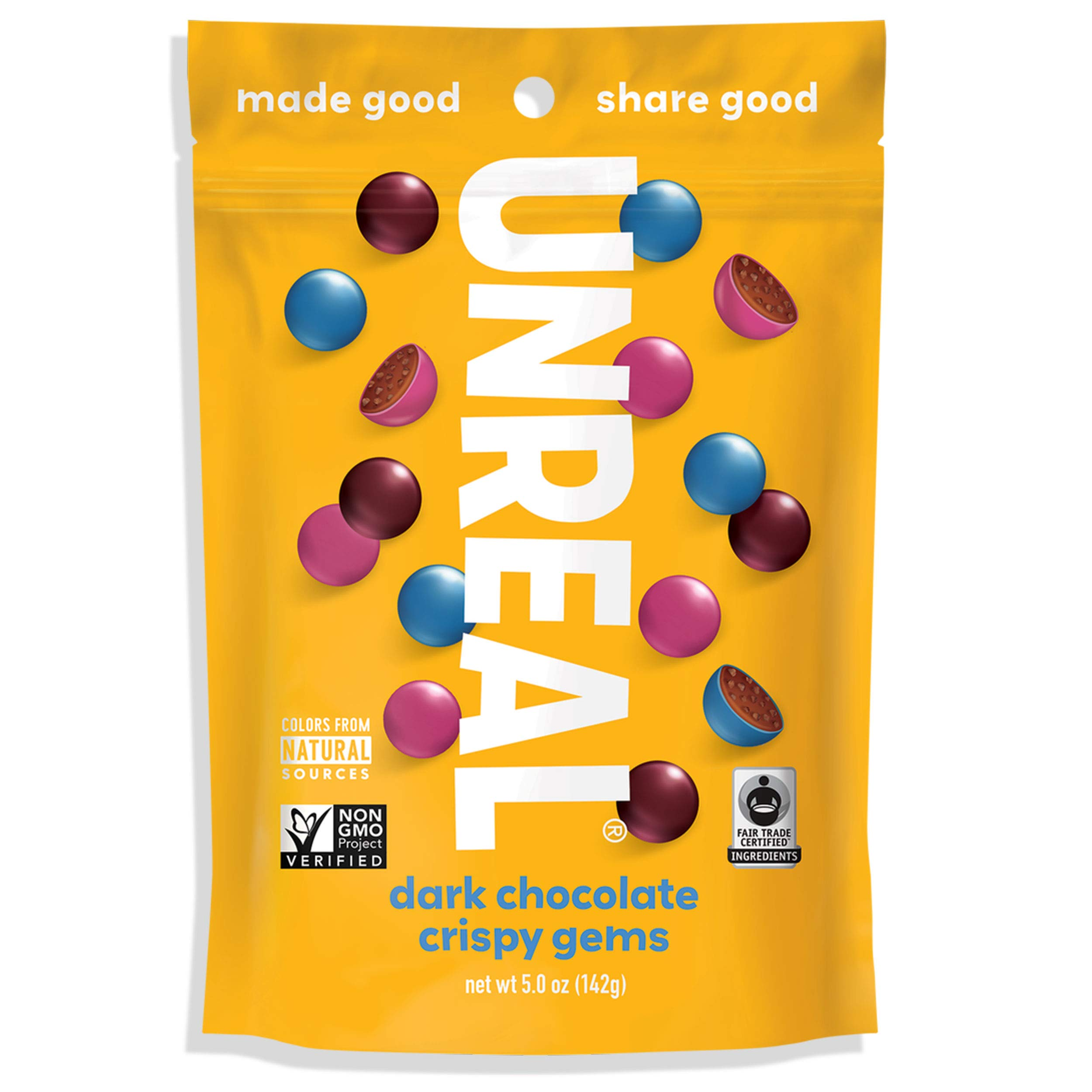 UNREAL Dark Chocolate Crispy Quinoa Gems | Non-GMO, Vegan Certified, Colors from Nature | 3 Bags by UNREAL