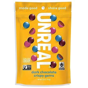 UNREAL Dark Chocolate Crispy Quinoa Gems   Non-GMO, Vegan Certified, Colors  from Nature   6 Bags