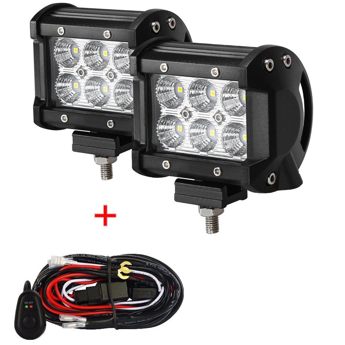 4Pcs 4 Flood Beam 60 degree Waterproof for Off-road Car ATV SUV Jeep Boat 18W CREE LED Work Light Bar