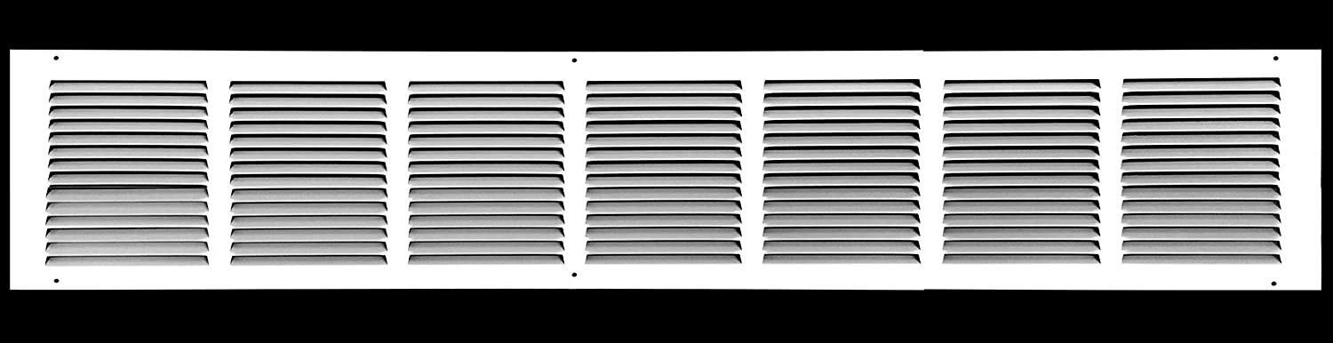 """36""""w X 6""""h Steel Return Air Grilles - Sidewall and Ceiling - HVAC Duct Cover - White [Outer Dimensions: 37.75""""w X 7.75""""h]"""
