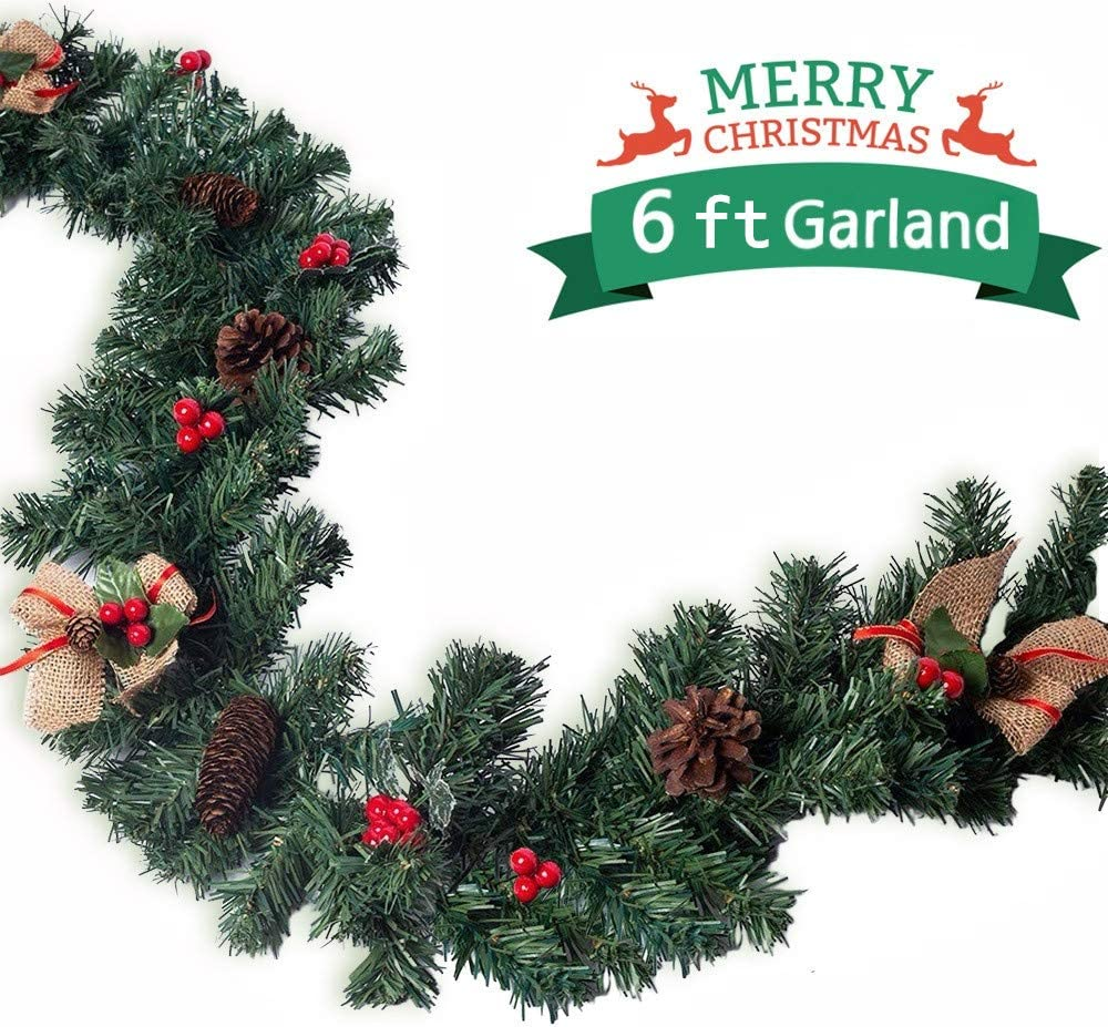 Christmas Garland Christmas Decorations with Red Berries Pine Cones Bows Ornaments for Outside Indoor Christmas Mantle Decoration 70 Garland