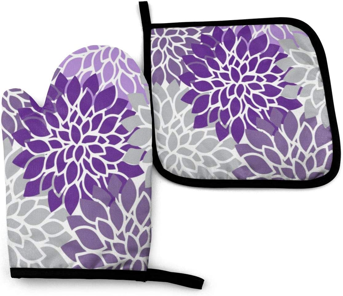 Oven Mitts and Pot Holders Set,Modern Purple and Gray Floral Washable Heat Resistant Kitchen Non-Slip Grip Oven Gloves for Microwave BBQ Cooking Baking Grilling