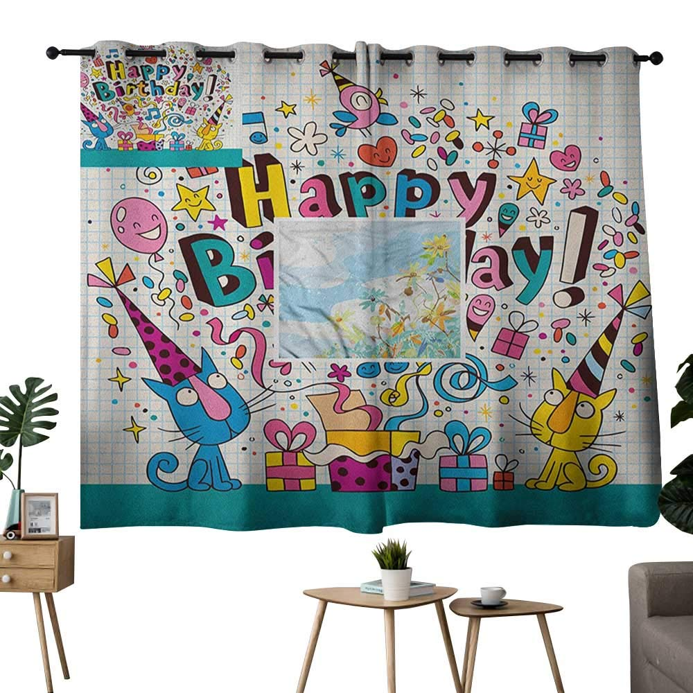color11 42 x54 (W106cmxL137cm) NUOMANAN Curtains Kids Birthday,Party Dog at Suprise Birthday Party with Cone Hat and Glasses Photograph Fun, Multicolor,Thermal Insulated Room Darkening Window Shade 42 x45