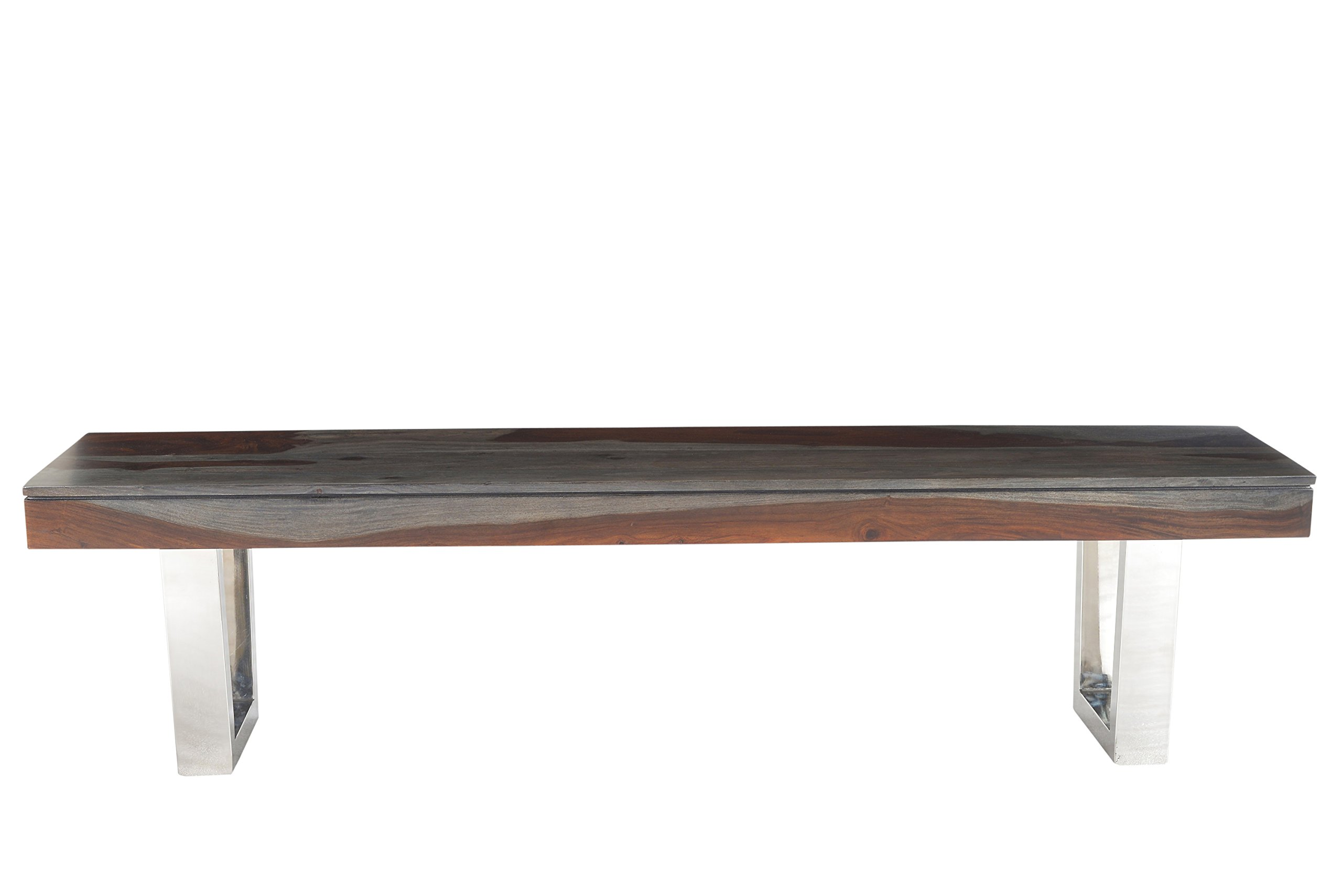 Treasure Trove Stainless Steel Base Grayson Dining Bench, Grey and Red