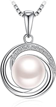 J.Rosée Pearl Necklace, 925 Sterling Silver Cubic Zirconia Freshwater Cultured Pearl Pendant Necklace Fine Jewelry for Women