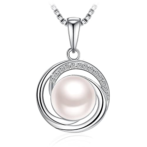 Jse pearl necklace 925 sterling silver cubic zirconia jse pearl necklace 925 sterling silver cubic zirconia freshwater cultured pearl pendant necklace mozeypictures Choice Image