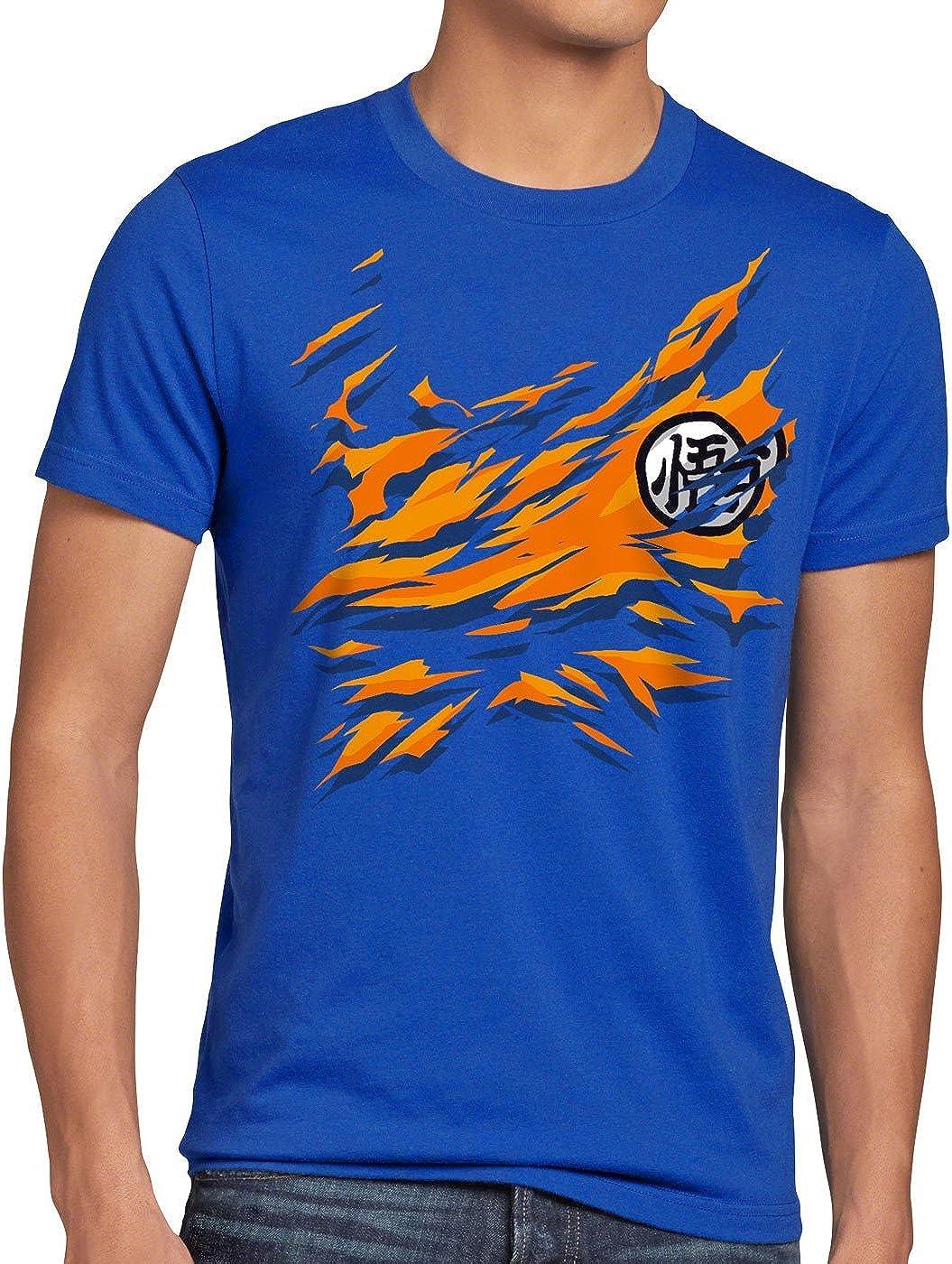 style3 Songoku Pecho Camiseta para Hombre T-Shirt Dragon z Super Saiyan Turtle Ball