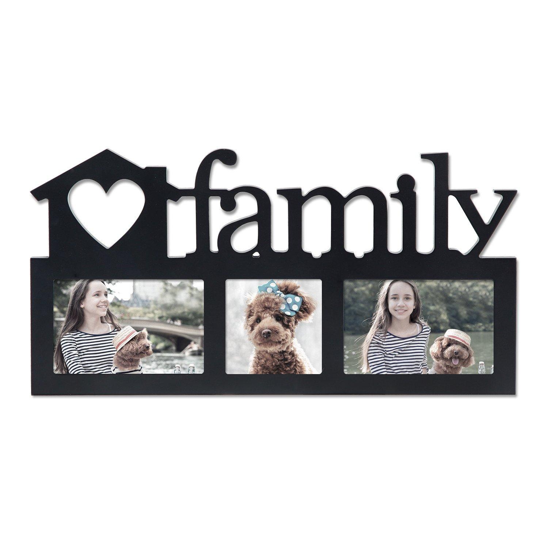 Homebeez Family 3 Opening Rectangle Black Photo Frame