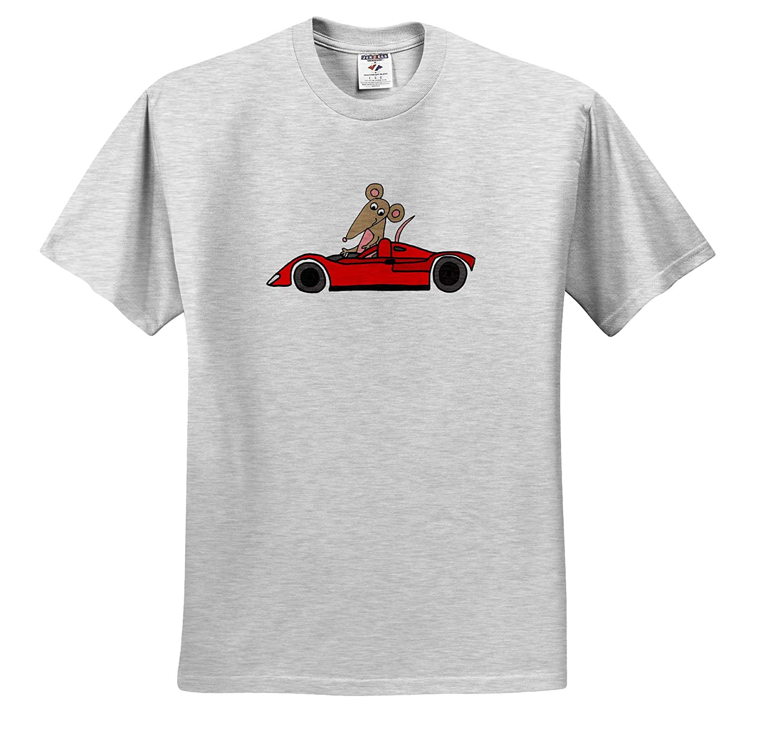 Funny Cool Funny Rat Race Satire with Rat in Race car Cartoon 3dRose All Smiles Art Adult T-Shirt XL ts/_315999