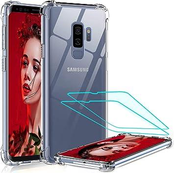 LeYi Coque Samsung S9 Plus avec Pet Protection écran, [ Renforcer la Version] Technologie Coussins d'air Transparent Antichoc Bumper Housse Silicone ...