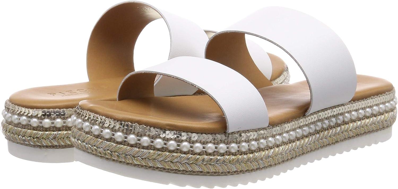 PIECES Pscalandra Leather Sandal Sandalias con Plataforma Plana para Mujer