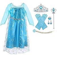 URAQT Vestido de Elsa, Disfraz de Elsa con Accesorios de Cosplay, Vestido de Princesa para Niñas con Capa de Copos de…