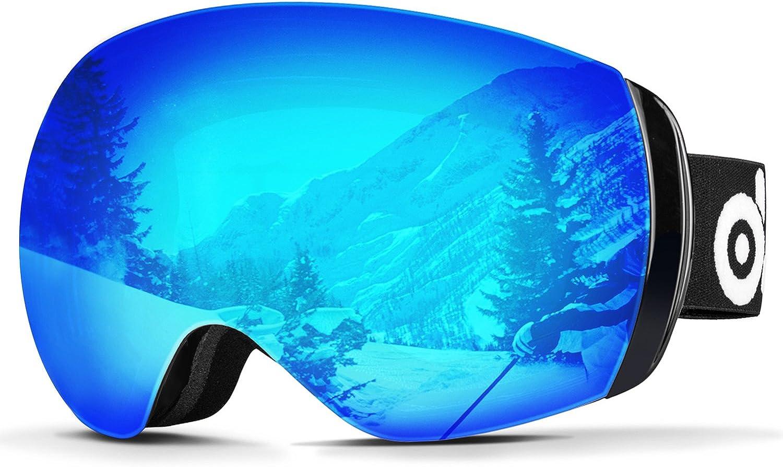 Odoland Large Spherical Frameless Ski Goggles for Men and Women, S2 OTG Double Lens Goggles for Skiing, Snowboaring, Snowmobile, UV400 Protection & Anti-Fogging, Blue