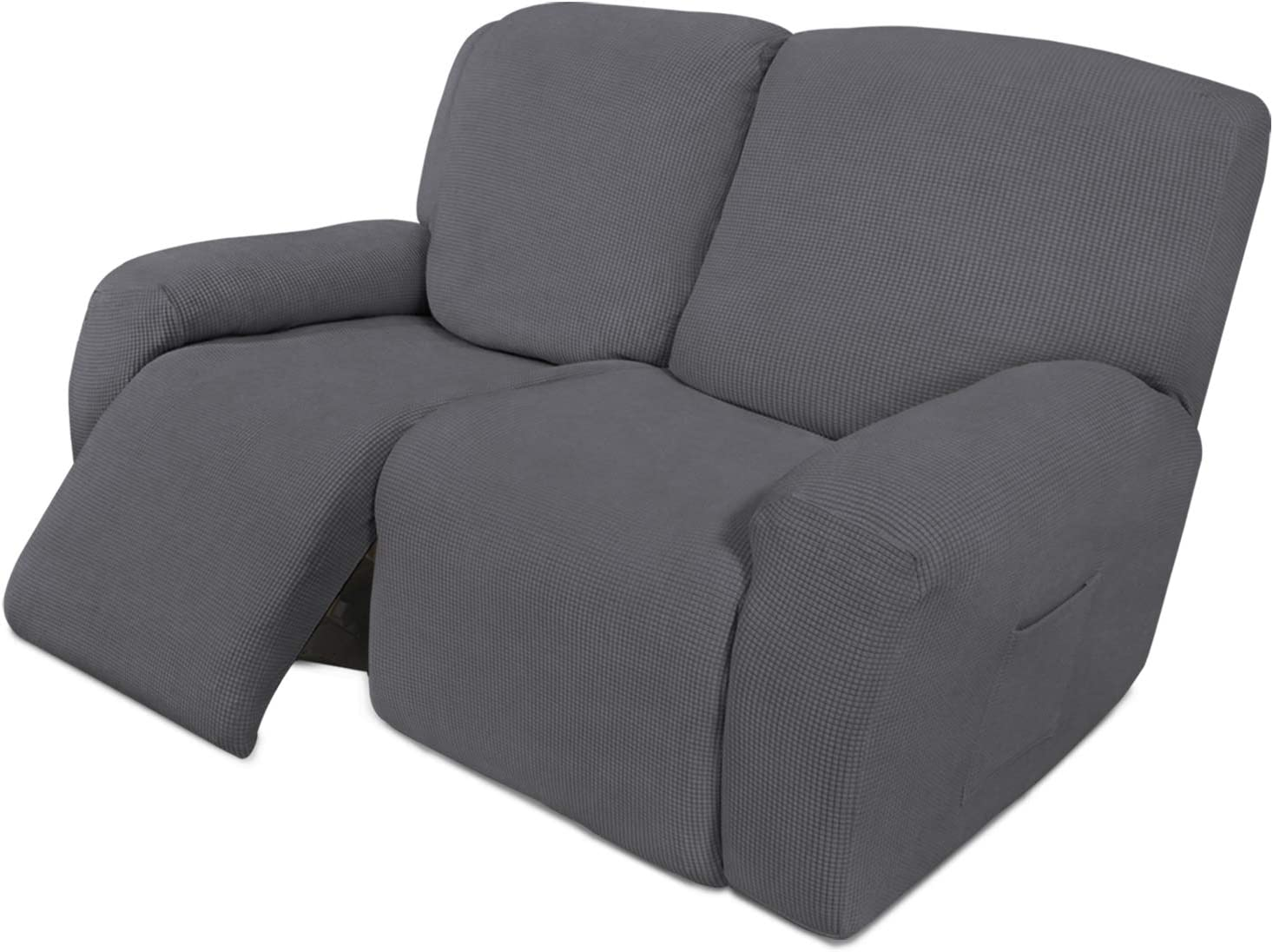 Easy-Going 6 Pieces Recliner Loveseat Stretch Sofa Slipcover Sofa Cover Furniture Protector Couch Soft with Elastic Bottom Kids, Spandex Jacquard Fabric Small Checks Gray