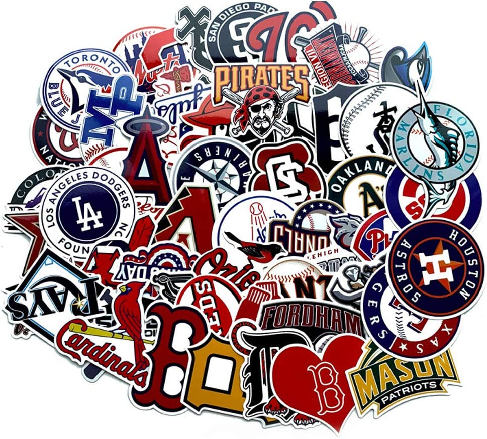Baseball Stickers, MLB[53 PCS] PVC Waterproof Vinyl Stickers for Laptop Water Bottle Phone Luggage Creative Decorative Decals for Kid Adult