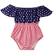 BFUSTYLE Independence Day Unisex Newborn Infant Cool Mermaid Ruffle T Shirt Little Kids Jumpsuit Short Sleeves Dress Baby Girl Cotton One-Piece Bodysuit Rompers Sunsuit