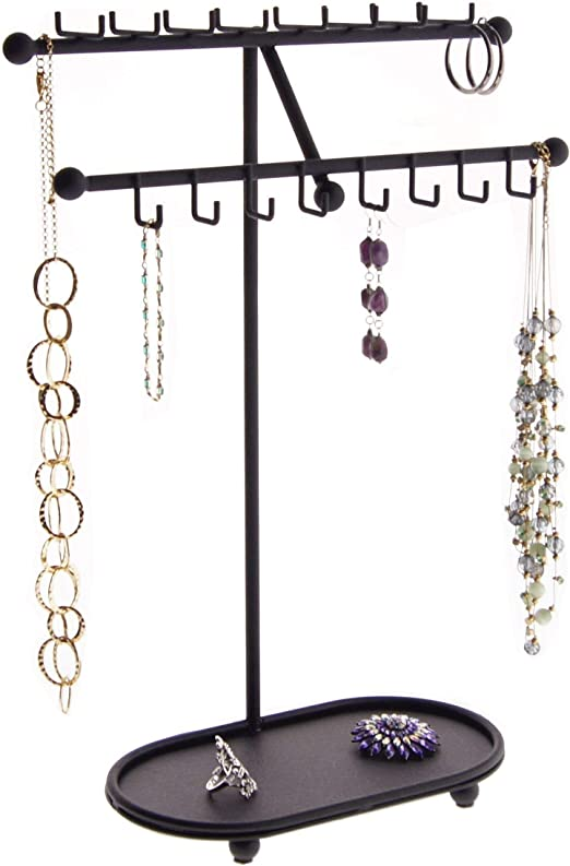 Amazon Com Angelynn S Necklace Holder Jewelry Organizer Display Case Stand Hanging Large Big Long Necklace Pendant Tall Storage Rack Sharisa Black Home Kitchen