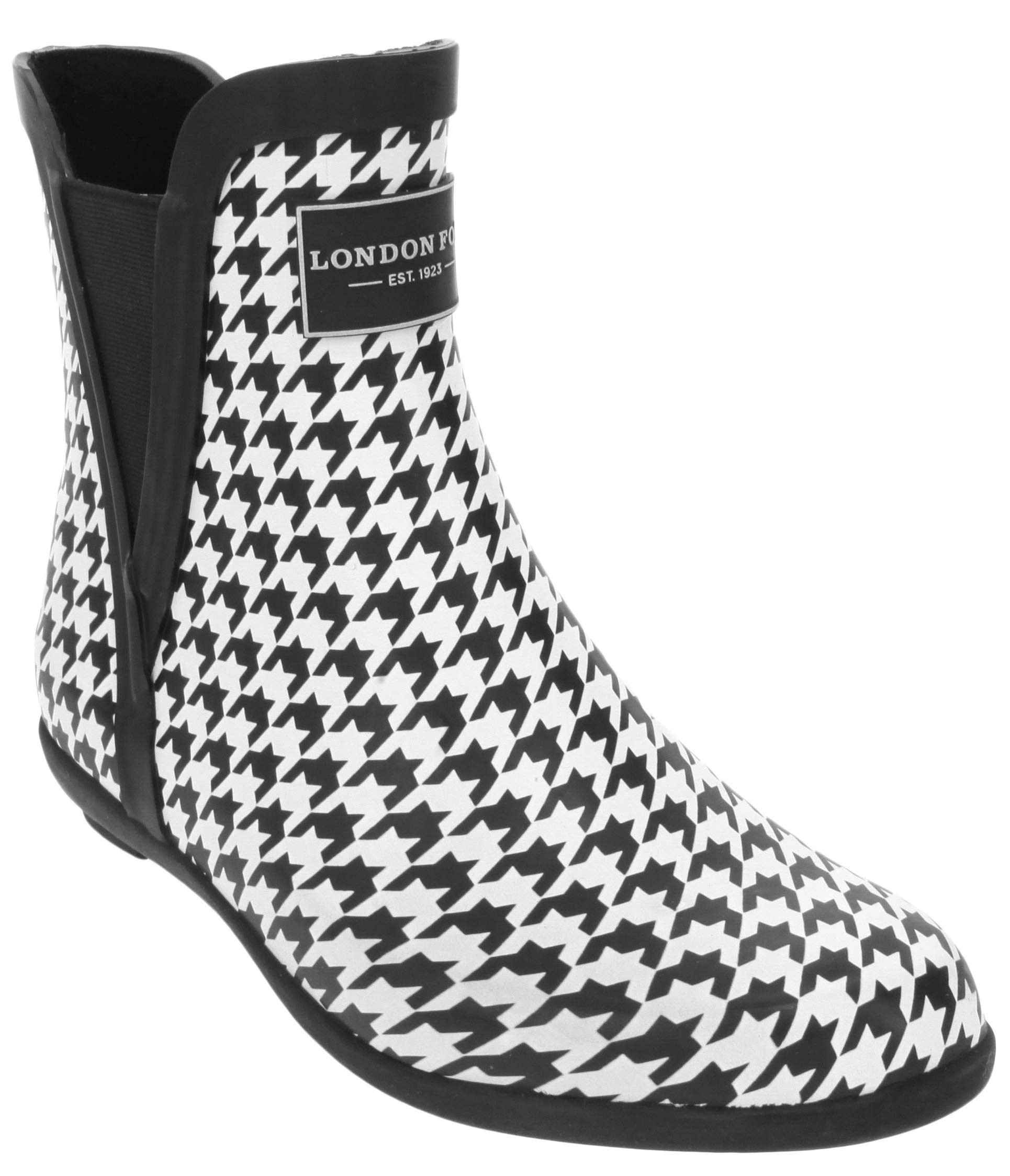 London Fog Womens Piccadilly Rain Boot Houndsthooth 6 M US