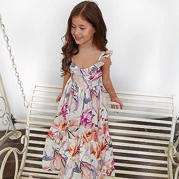 ZXCVBN Sommer Mädchen Kleid Sleeveless Floral Boho Maxi Kleider ...