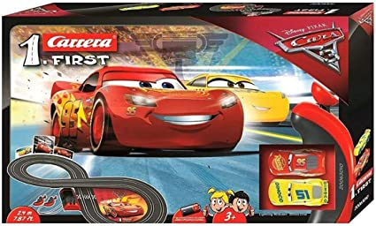 Carrera First Disney Pixar Cars 3 Slot Car Race Track Includes 2 Cars Lightning Mcqueen And Dinoco Cruz Battery Powered Beginner Racing Set For Kids Ages 3 Years And Up