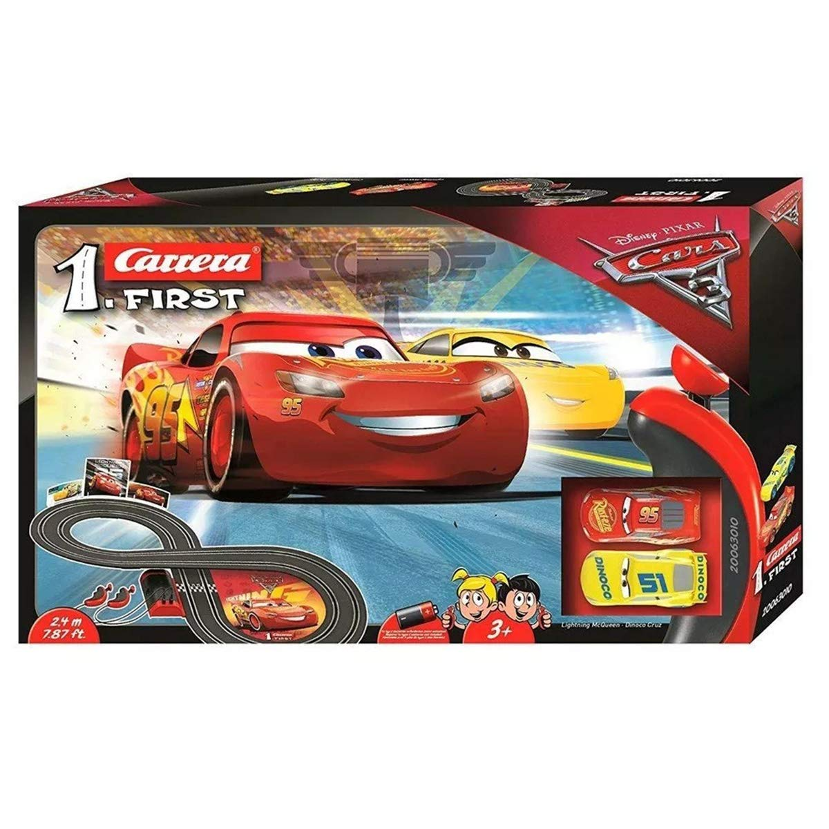 Carrera 20063010 First Rayo Mcqueen, Dinoco Cruz Disney·Pixar Circuit Cars, Black, 2.4 m