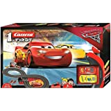Carrera First Disney/Pixar Cars 3 - Slot Car Race Track - Includes 2 cars: Lightning McQueen and Dinoco Cruz - Battery-Powere