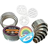 K&S Artisan Round Cookie Biscuit Cutter set 11 Graduated & NUMBERED Circle Pastry Cutters for Donut Scone Heavy Duty Commercial Quality 100% Stainless Steel Metal Rings Baking molds +3 Cookie Stencils