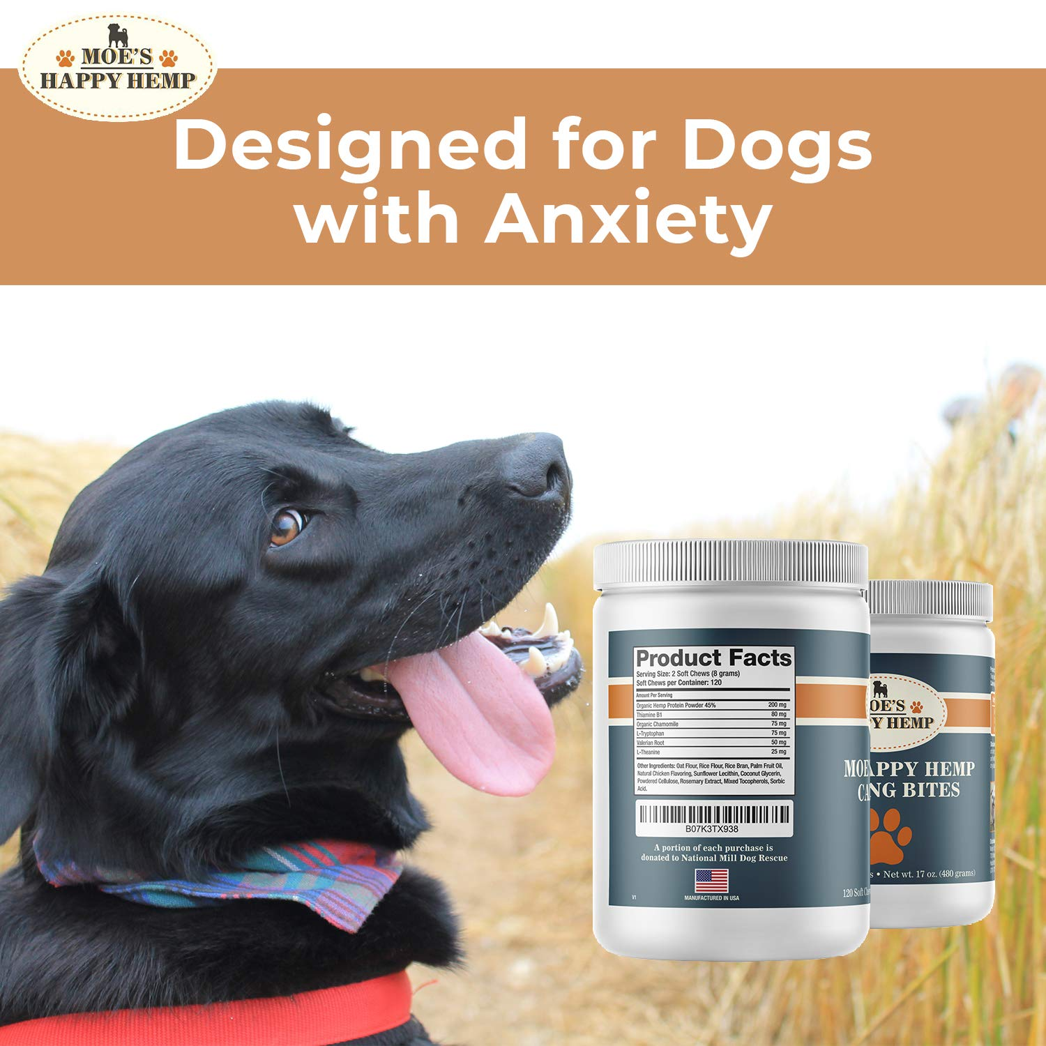 Organic Calm Hemp Treats for Dogs: Dog Anxiety Relief and Calming Aid for Hyperactive or Aggressive Pets - Daily Supplement to Support Joints and Healthy Skin and Coat - 120 Soft Chews, Chicken Flavor by Moe's Organics