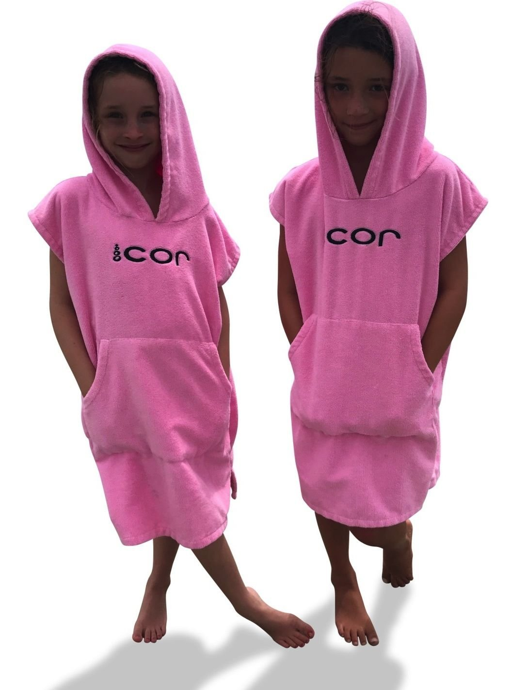 a45387bed39 Amazon.com: COR Childrens Unisex Poncho Towel Robe Light and Dark Blue,  Pink and Green for Ages 3-10 (Pink): Home & Kitchen