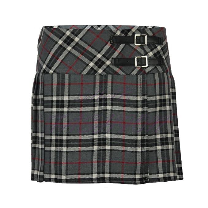 Falda plisada escocesa para niña de 3-14 años con correas de piel ...
