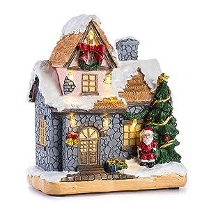 Desconocido Inocudept12 CITONG - Figura Decorativa navideña para casa de Nieve, diseño con Papá Noel y luz LED