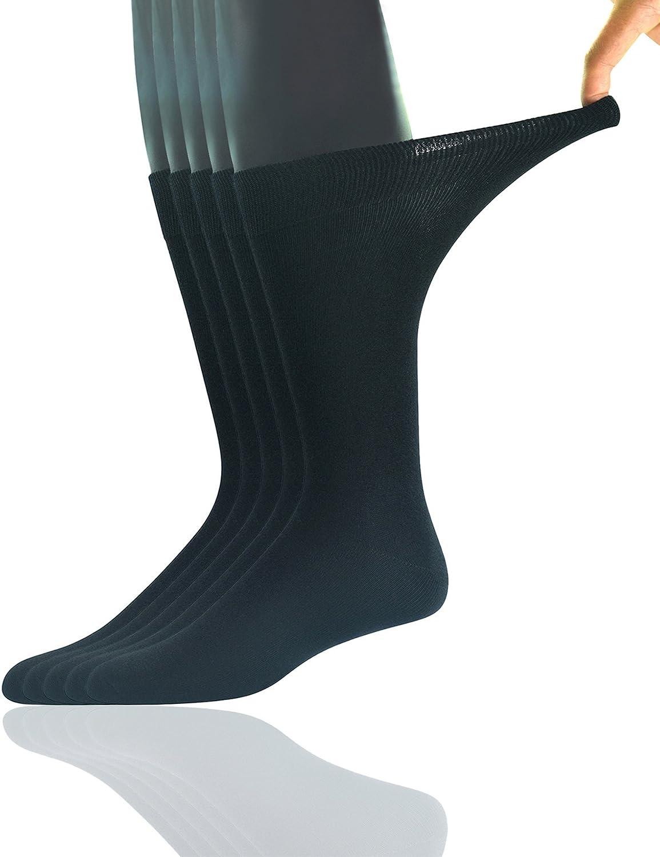 Yomandamor Men's 5 Pairs Bamboo Extra Wide Top Crew Dress Socks BD-S-0152-B