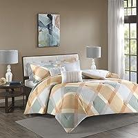 Madison Park Drew Cotton Flannel Comforter Set (Full/Queen, Orange)