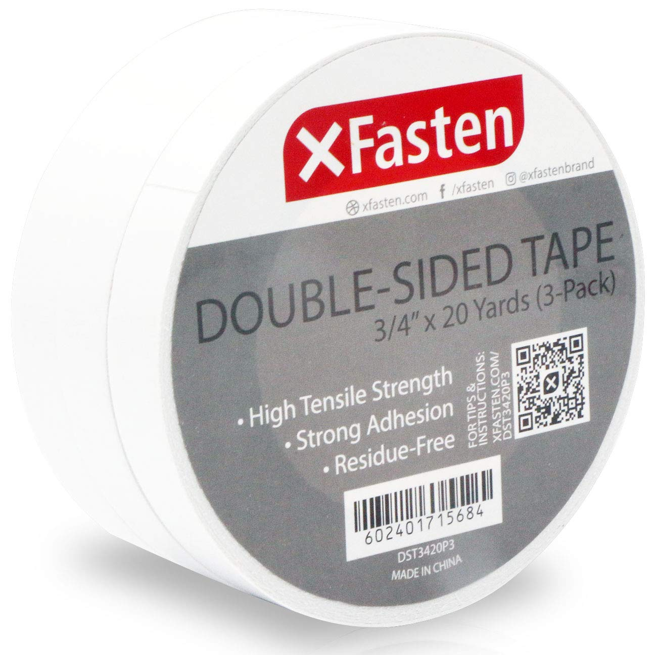XFasten Double Sided Tape, Removable, 3/4-Inch by 20-Yards, Pack of 3