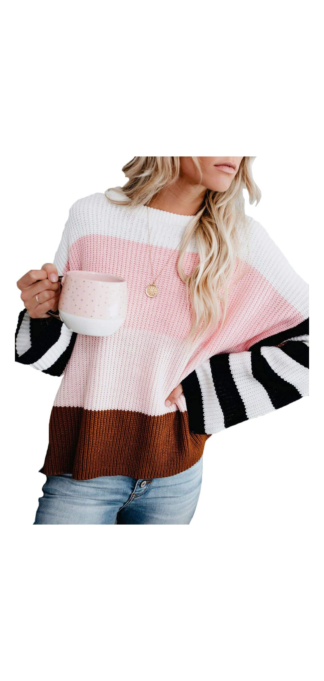 Women's Casual Long Sleeve Pullover Color Block Striped