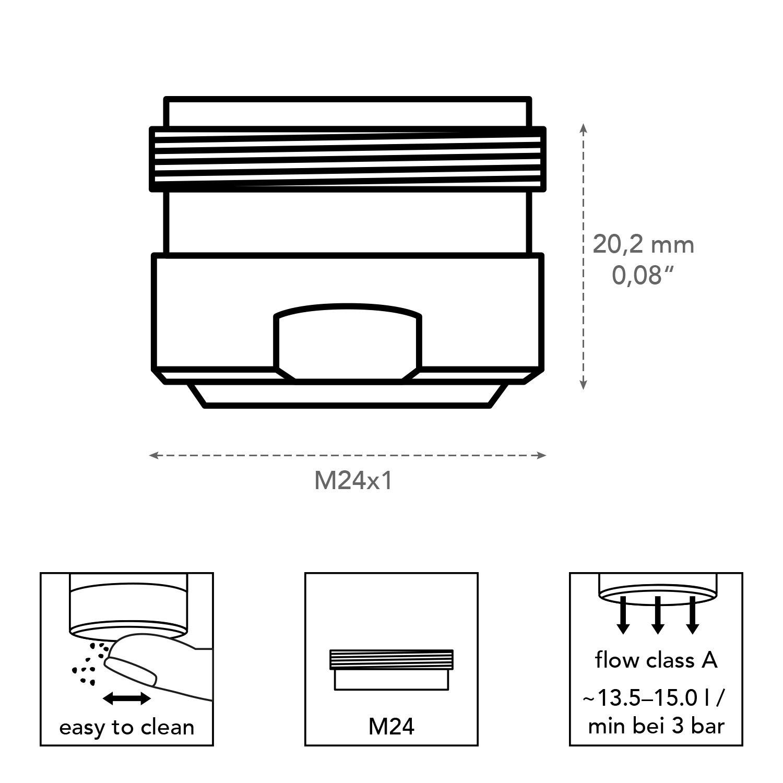 Neoperl 40460495/Perlator DL R/égulateur de jet M24/x 1//M24