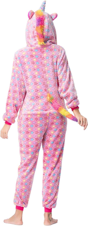 Coralup Boys Girls Animal Onesie Unicorn//Dinosaur//Lion//Zebra Jumpsuits Fluffy Onesies Hooded Fleece Supersoft Flannel One Piece Sleepsuit for Kids Nightwear 150, Unicorn Rose