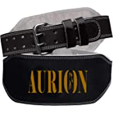 Aurion Leather Weight Lifting Belt Body Fitness Gym Back Support Extra Wide 6 INCHES