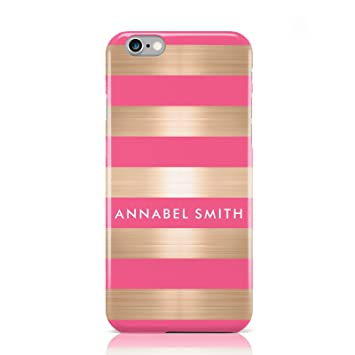 promo code 8b42f b5212 PERSONALISED GOLD PINK STRIPES NAME INITIAL PHONE CASE FOR APPLE IPHONE 6 6S
