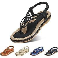 gracosy Sandalias Planas Verano Mujer Estilo Bohemia Zapatos de Dedo Sandalias Talla Grande Cinta Casuales Playa…