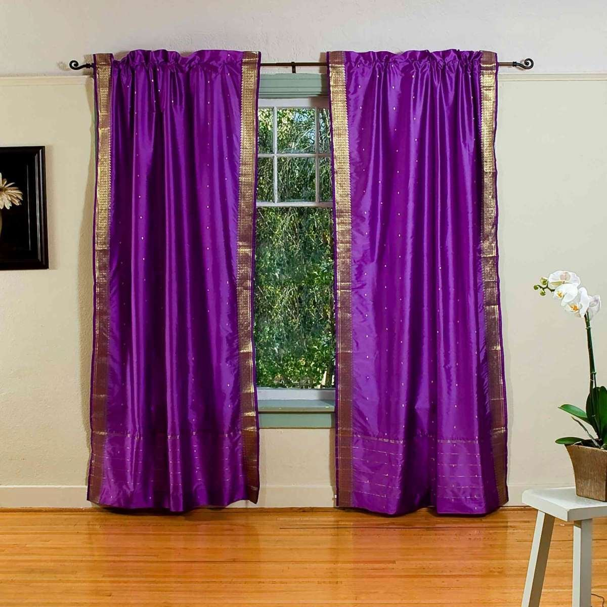 Indian Selections Lined-Purple Rod Pocket Sheer Sari Cafe Curtain/Drape - 43W x 24L - Piece