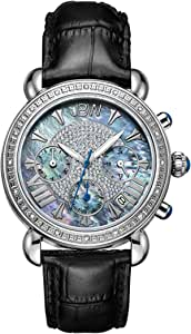 JBW Women's JB-6210 Victory Three Sub-Dial Chronograph Diamond Watch for Women with Analog Display Women's Black/Blue Mother of Pearl