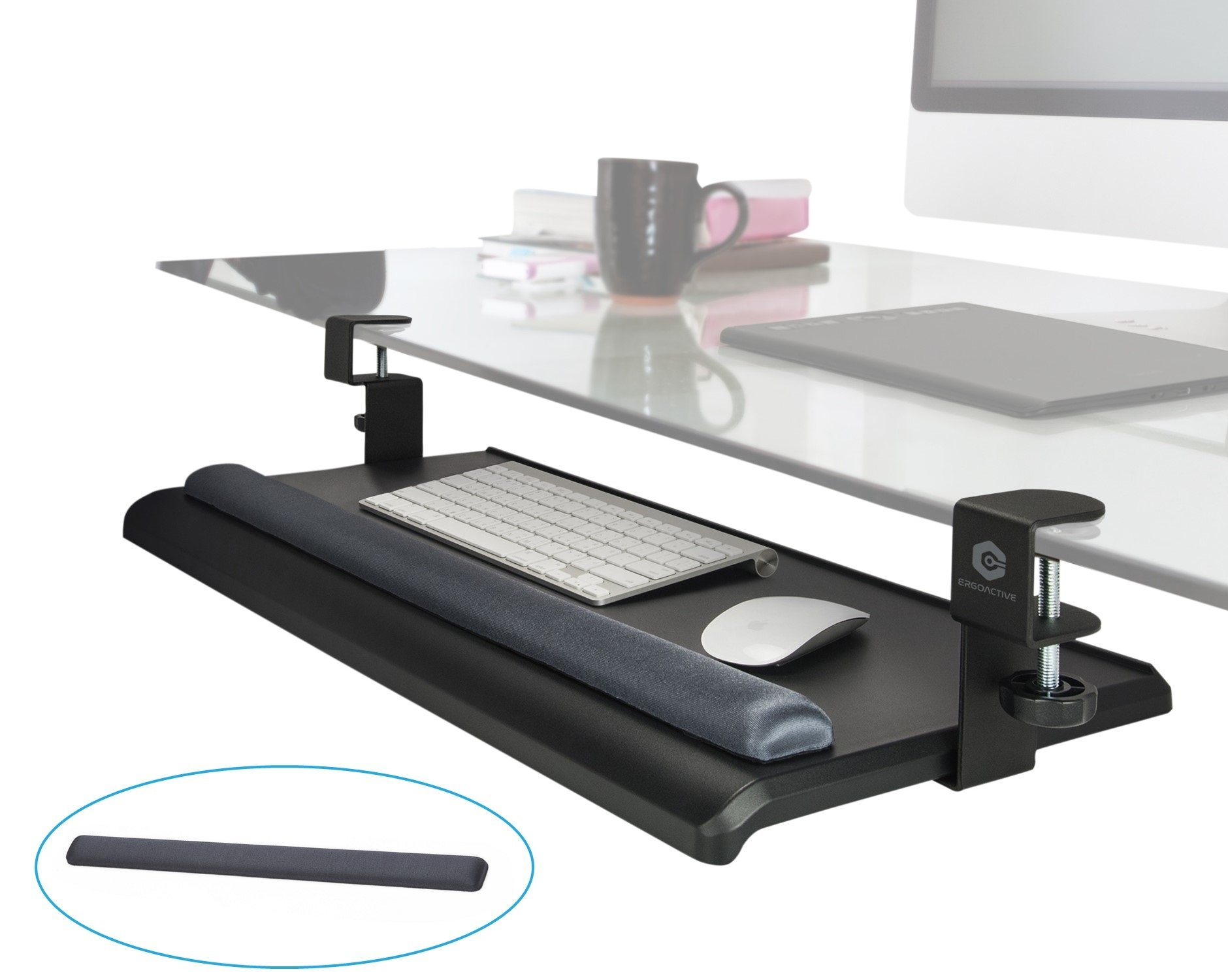 ErgoActive Extra Wide Under Desk Keyboard Tray with Clamp On Easy Installation, No Screws into Desk, Sliding Drawer, Fits Full Size Keyboard and Mouse - Includes Wrist Rest (Wide Tray + Wrist Rest)