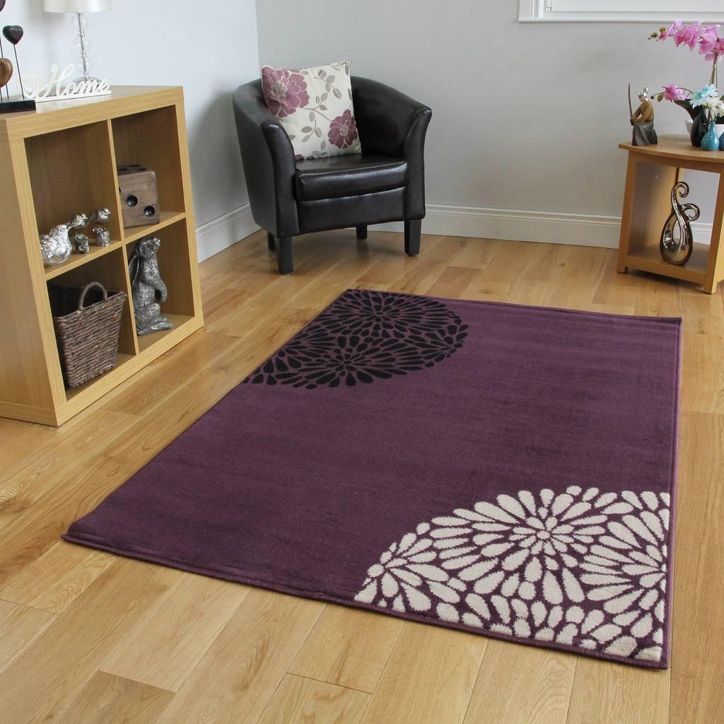 The Rug House Großer, moderner Teppich, Violett Schwarz   Cremefarben, uni, Shiraz