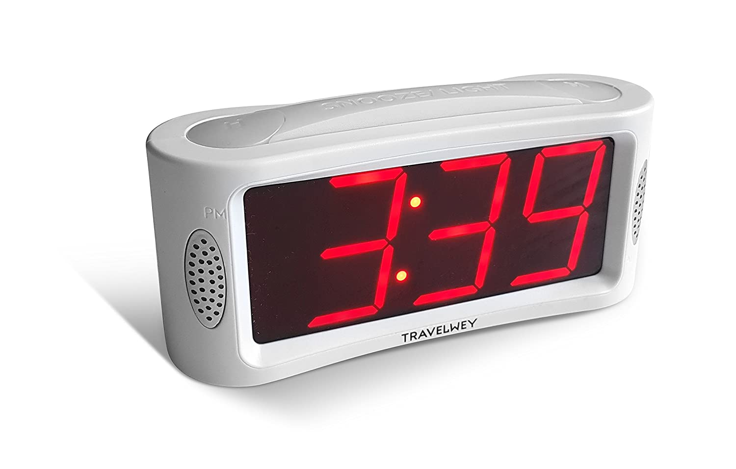 Travelwey HOME LED Digital Alarm Clock - Outlet Powered, No Frills Simple Operation, Large Night Light, Alarm, Snooze, Full Range Brightness Dimmer, Big Red Digit Display, White