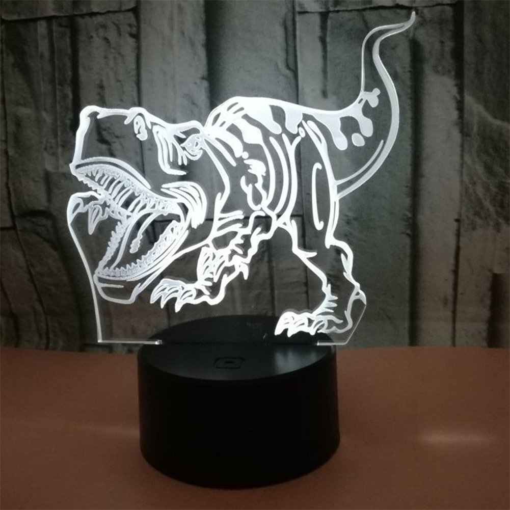 RUIYI 3D Optical Illusion Night Lamp Tyrannosaurus Visual Lmaps,Dinosaur 7 Color Change Lamp Base Birthday Gift Child Kid Home Decoration