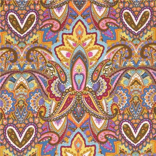 ハート、葉、ペイズリー柄の、オリーブグリーンやオレンジのカラフルなコットン生地 Gypsy Heartの商品画像