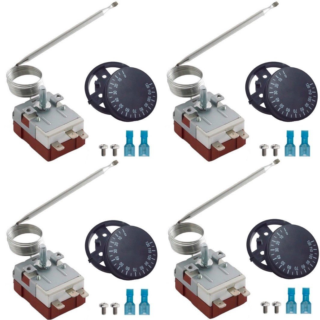 American Volt 4-Pack Universal Adjustable Electric Fan Water Coolant Thermostat Switch Temperature Probe Controller Kit