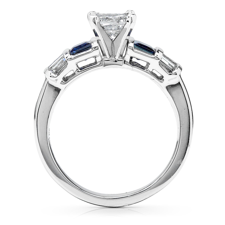 Amazon Blue Sapphire & Diamond Wedding Rings Set 1 1 2 Carat