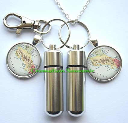 Amazon.com: Costa Rica map Cremation Necklace and Keychain ...